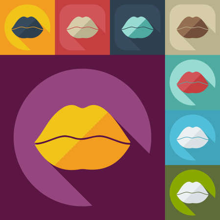 Flat modern design with shadow icon lips