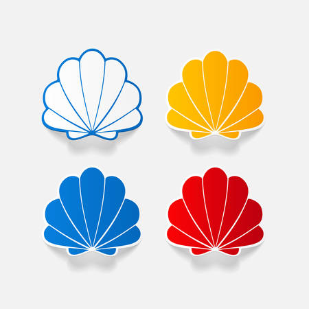 aquaculture: Realistic paper sticker: shell. Isolated illustration icon