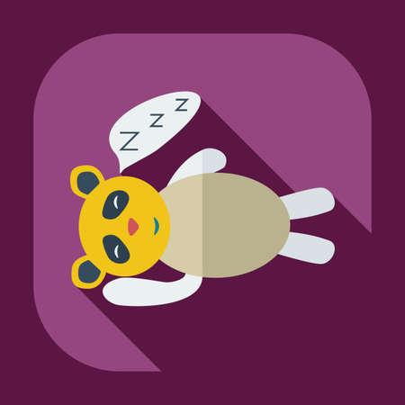 sleeps: Flat modern design with shadow icons panda sleeps