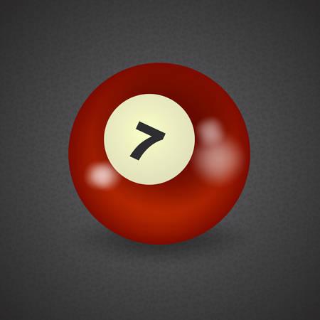 top seven: set of billiard balls, billiards, American ball number 7 Illustration