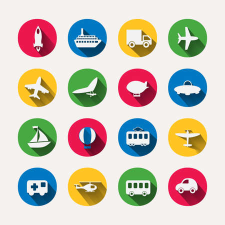 Paper clipped sticker: transport Set. Isolated illustration icon
