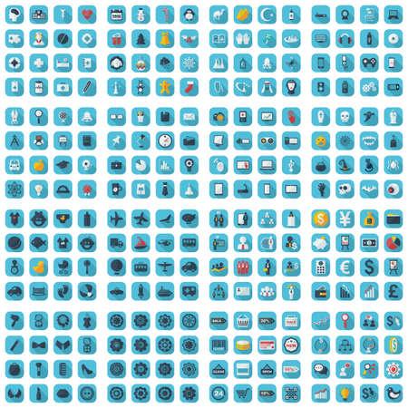 Large icons set. Vector illustration of flat Banco de Imagens - 46027056