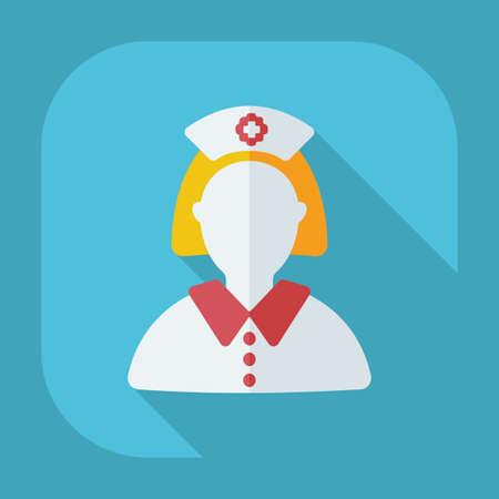 nurse injection: Flat modern design with shadow nurse, doctor Illustration