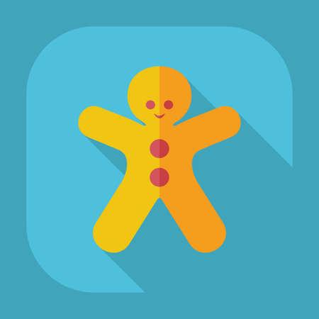 gingerbread man: Flat modern design with shadow gingerbread man Illustration
