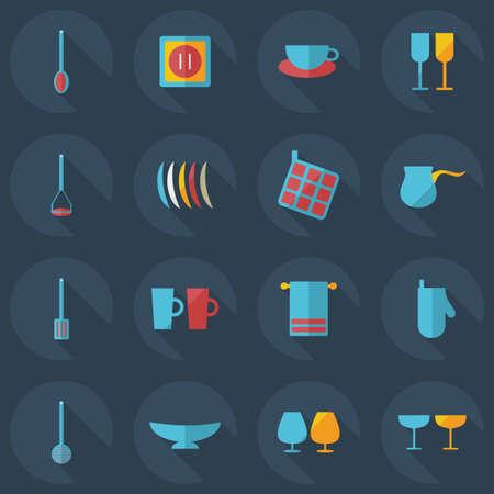 negocios comida: Diseño moderno plana con iconos sombra cocina Vectores