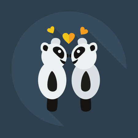cute love: Flat modern design with shadow icons panda love
