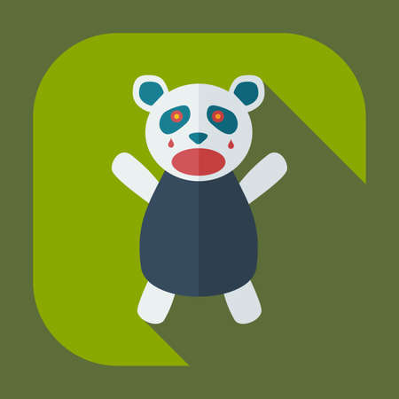 Flat modern design with shadow icons panda crying Illustration