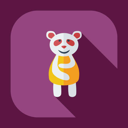 aching: Flat modern design with shadow icons panda is sick Illustration