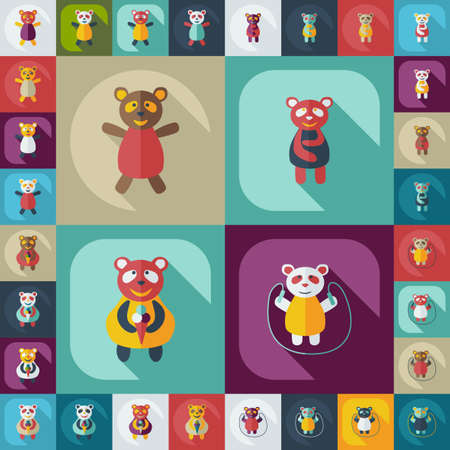 assemblage: Flat concept, set modern design with shadow panda Illustration