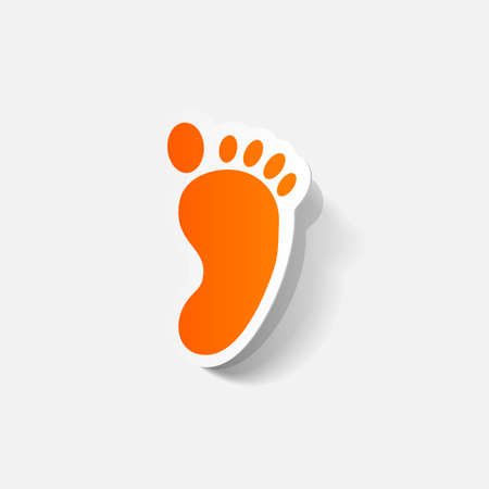 human footprint: Paper clipped sticker: Footprint symbol. Isolated illustration icon