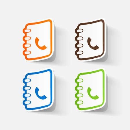 directorio telefonico: Papel adhesivo recortado: guía telefónica. Ilustración aislada icono