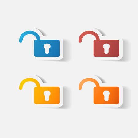 secret code: Paper clipped sticker: lock. Isolated illustration icon