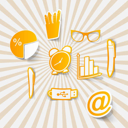 informational: office set of icons business Illustration