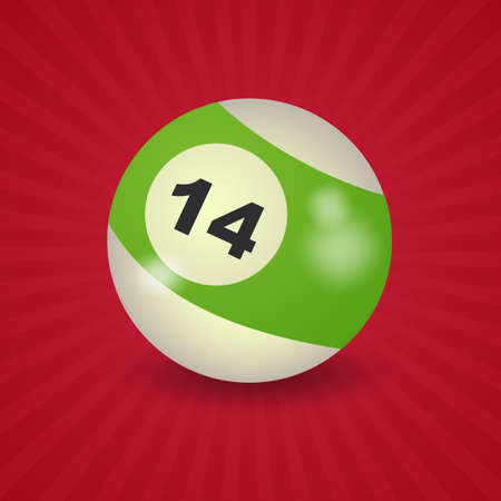 number 14: set of billiard balls, billiards, American ball number 14