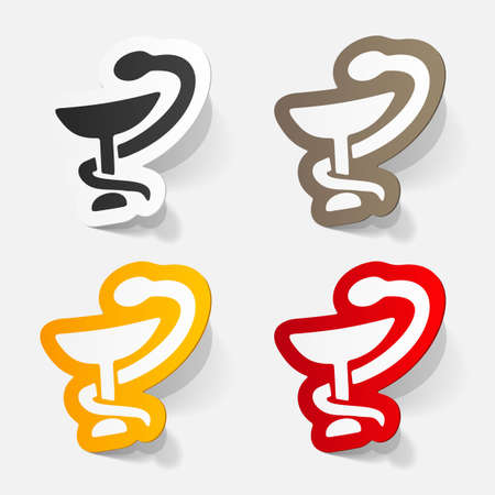 snake and a bowl: paper sticker: sign snake with a bowl. Isolated illustration icon Illustration
