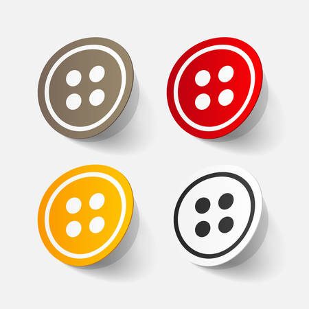 sewing button: Realistic paper sticker: sewing Button. Isolated illustration icon