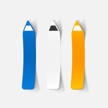eyeliner: Realistic paper sticker: eyeliner. pencil. Isolated illustration icon Illustration