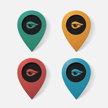 pointer: Realistic color pointer: eye. Isolated illustration icon