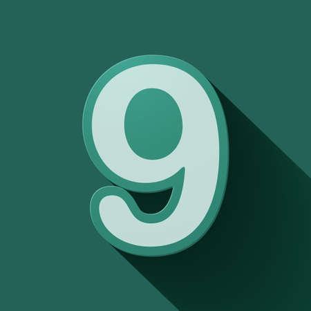 numero nueve: Número de iconos Volumen: nueve. Estilo moderno colorido.