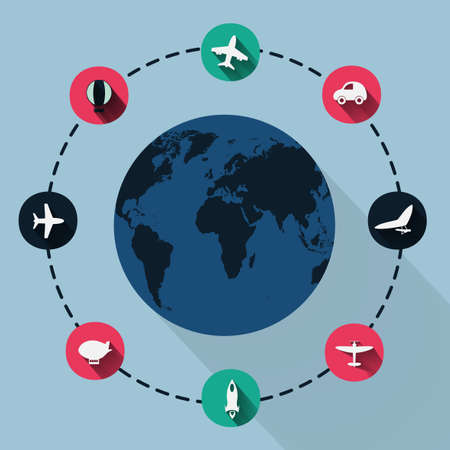clipped: Paper clipped sticker: globe. transport Set. Isolated illustration icon