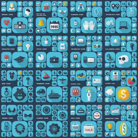Large icons set. Vector illustration of flat Banco de Imagens - 46547112