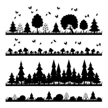 Composizione foresta nera su uno sfondo bianco alberi stile piatta Archivio Fotografico - 46547151