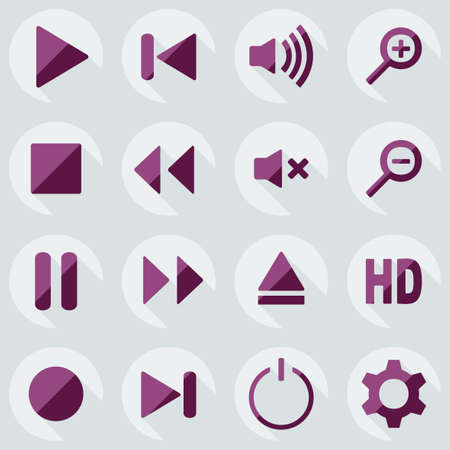 menu button: Flat modern design with shadow icon player