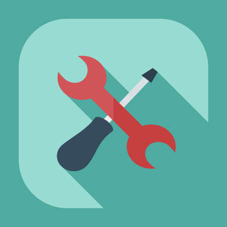 adjustment: Flat modern design with shadow icons wrench