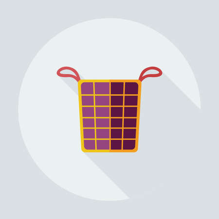 dirty clothes: Flat modern design with shadow icons basket of dirty clothes