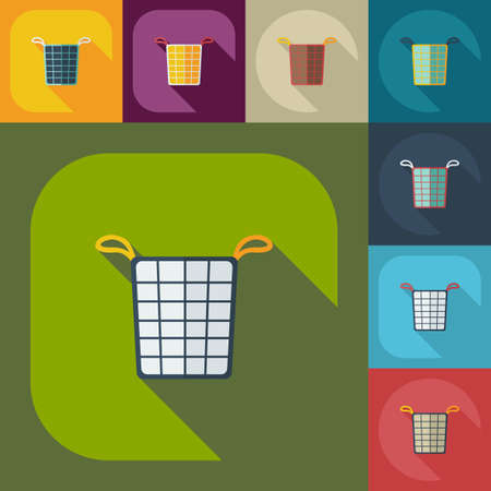 dirty clothes: Flat concept, set modern design with shadow basket of dirty clothes
