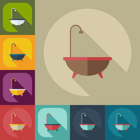 assemblage: Flat concept, set modern design with shadow bathtub Illustration