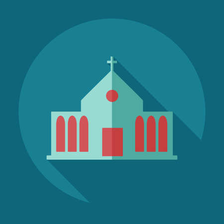 overhang: Flat modern design with shadow icons church Illustration