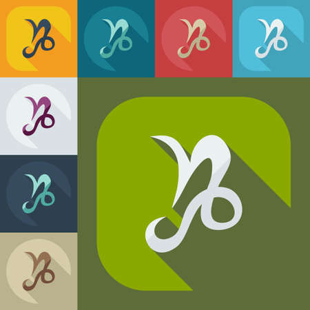 the art of divination: Flat modern design with shadow icons ibex Illustration