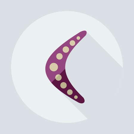wooden boomerang: Flat modern design with shadow icons boomerang