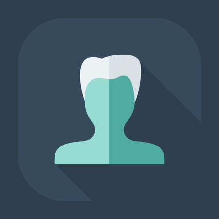 shadow man: Flat modern design with shadow Man silhouette creative hairstyle Illustration