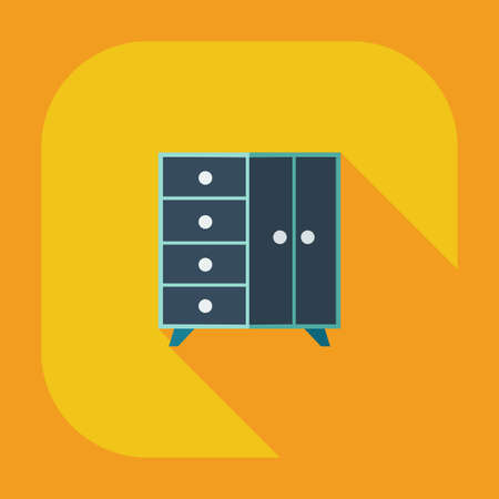 drawers: Flat modern design with shadow icons chest of drawers Illustration