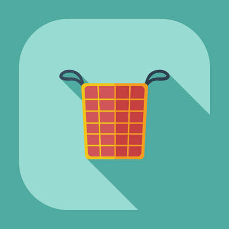 long socks: Flat modern design with shadow icons basket of dirty clothes