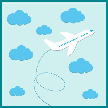 through travel: white plane flying in the summer illustration Illustration