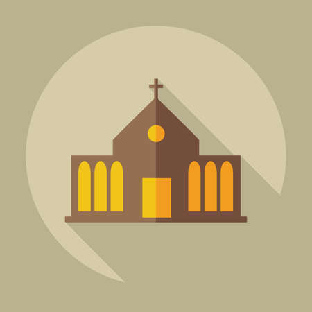 steeple: Flat modern design with shadow icons church Illustration