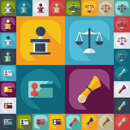 court process: Flat concept, set modern design with shadow court