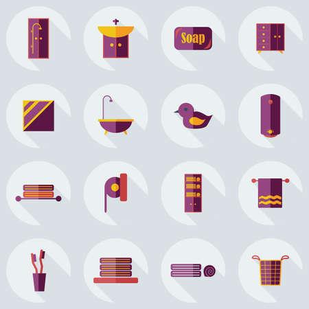 assemblage: Flat concept, set modern design with shadow bathroom Illustration