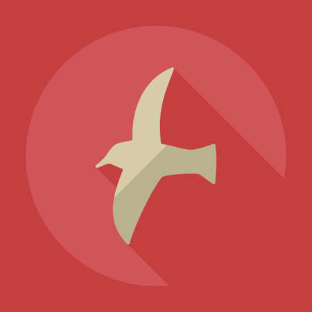 flying birds: Flat modern design with shadow icons seagull Illustration