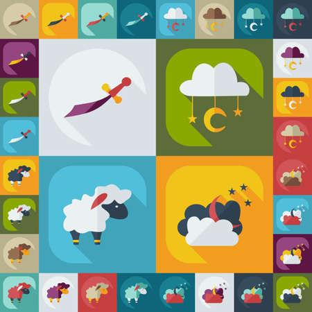 assemblage: Flat modern design with shadow icons Ramadan Illustration