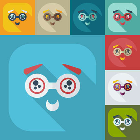 bespectacled: Flat modern design with shadow icons bespectacled smiley Illustration