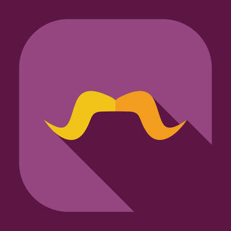 style goatee: Flat modern design with shadow icons mustache Illustration