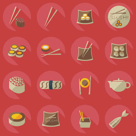 beans and rice: Flat concept, set modern design a unique collection of sushi Illustration