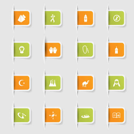 middle eastern food: Set, a collection of unique paper stickers icons arabic