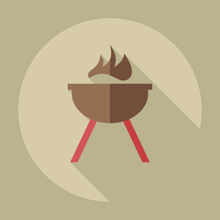 bbq grill: Flat modern design with shadow icons barbecue Illustration
