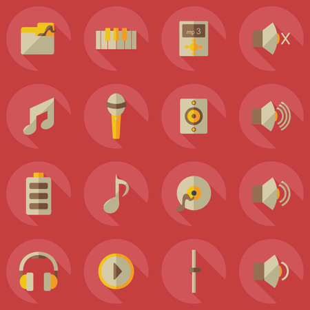 assemblage: Flat modern design with shadow icons music Illustration