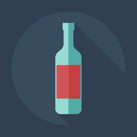 botella de whisky: Dise�o moderno plana con iconos sombra de bebidas Vectores